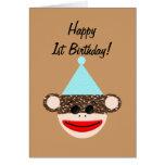Sock Monkey Birthday Card