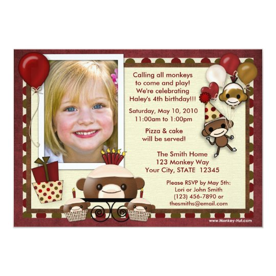 Sock Monkey Birthday Invitation ADORABLE (photo)