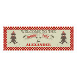 Sock Monkey Birthday party banner personalize