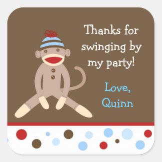 Sock Monkey Birthday Party Favor Stickers Boy