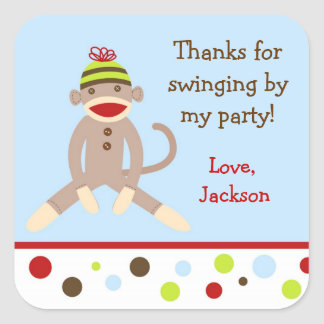 Sock Monkey Birthday Party Favor Stickers labels