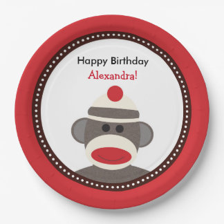 Sock Monkey Birthday Party Plates or Baby Shower 9 Inch Paper Plate