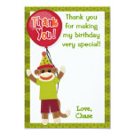 "Sock Monkey Birthday Party Thank You card 3.5""x5 Invitation"