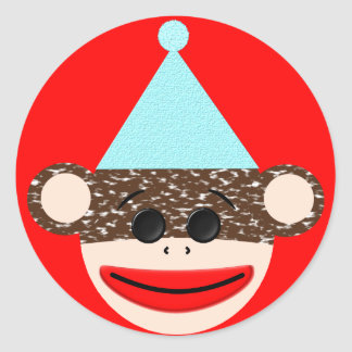 Sock Monkey Birthday Sticker