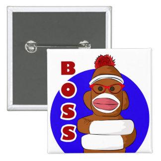 Sock Monkey Boss 2 Inch Square Button