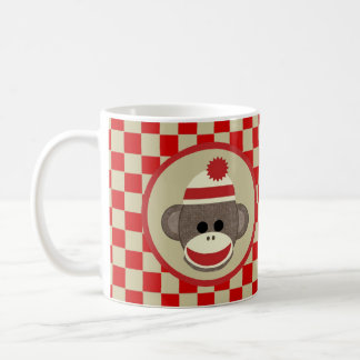 Sock Monkey boy with red and beige checks mug