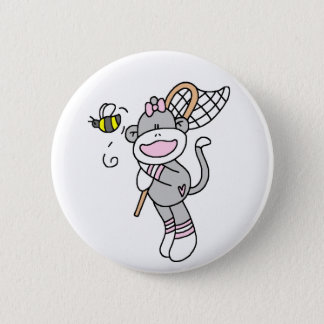 Sock Monkey Catching Bugs 2 Inch Round Button