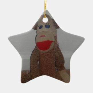 Sock Monkey Ceramic Star Ornament