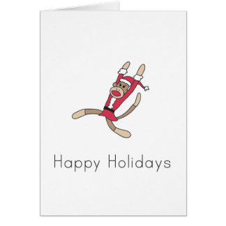 sock monkey christmas card