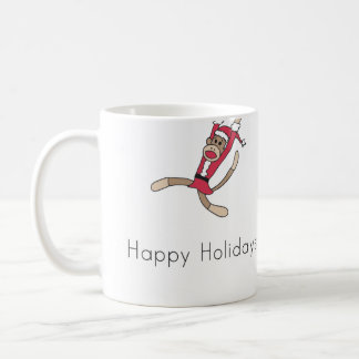 sock monkey christmas coffee mug