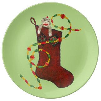 Sock Monkey Christmas Collectors Plate Porcelain Plates