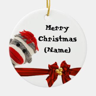 SOCK MONKEY CHRISTMAS FUN ORNAMENT PERSONALIZED