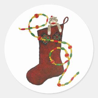 Sock Monkey Christmas Stocking Sticker