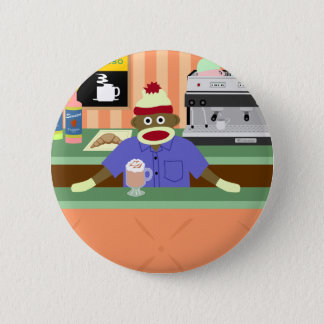 Sock Monkey Coffee Shop Barista 2 Inch Round Button