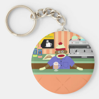 Sock Monkey Coffee Shop Barista Basic Round Button Keychain