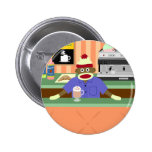 Sock Monkey Coffee Shop Barista Pinback Buttons