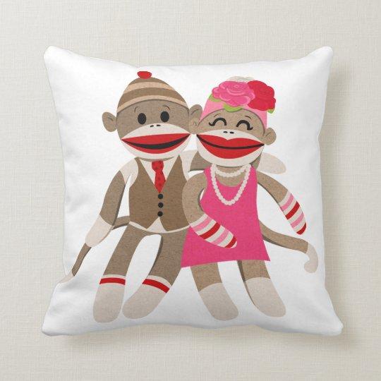 Sock Monkey Couple Throw Pillow