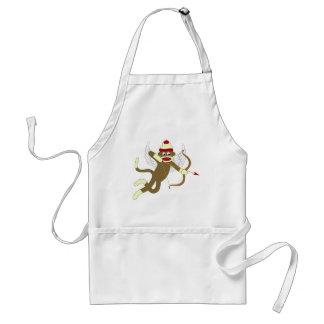 Sock Monkey Cupid Adult Apron
