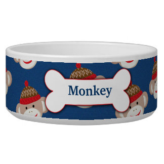 Sock Monkey Custom Pet Dog Food Bowl - Blue
