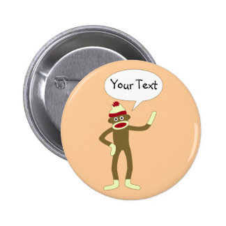 Sock Monkey Customizable Comic Speech Bubble 2 Inch Round Button