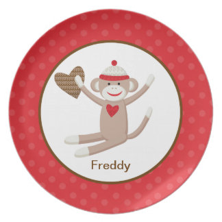 Sock Monkey Customizable Plate