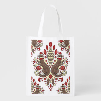 sock monkey damask reusable tote bag