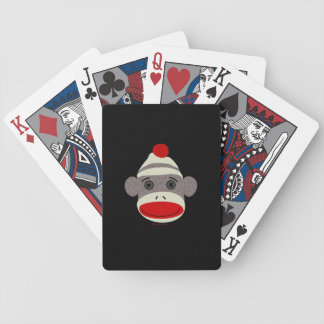 Sock Monkey Face Bicycle Playing Cards