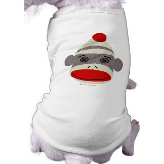 Sock Monkey Face Dog Tee Shirt