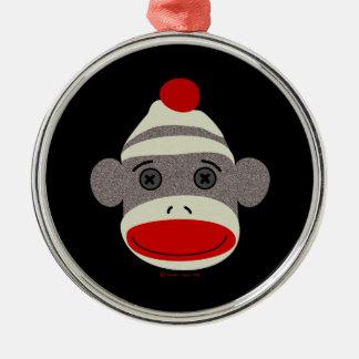 Sock Monkey Face Metal Ornament