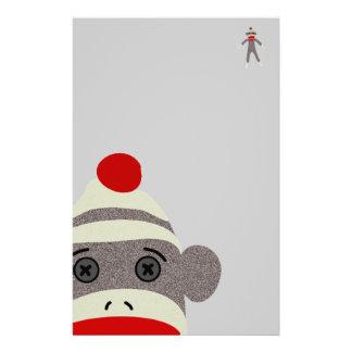 Sock Monkey Face Personalized Stationery