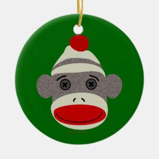 Sock Monkey Face Round Ceramic Ornament