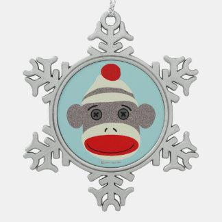 Sock Monkey Face Snowflake Ornament