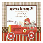 Sock Monkey, Fire Truck Boy Birthday Party Invite