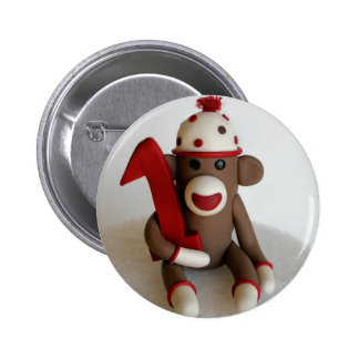 Sock Monkey First Birthday 2 Inch Round Button