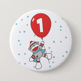 Sock Monkey First Birthday 3 Inch Round Button