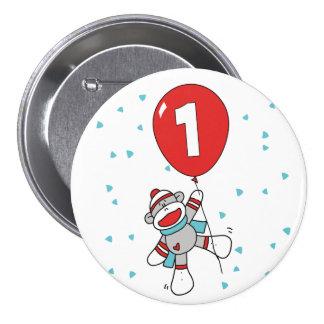 Sock Monkey First Birthday 3 Inch Round Button
