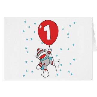 Sock Monkey First Birthday Invitations