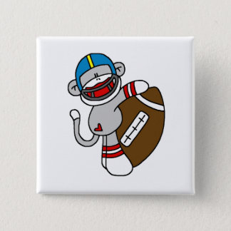Sock Monkey Football T shirts and Gifts 2 Inch Square Button