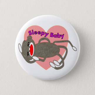"Sock Monkey for Kids ""Sleepy Baby""---Adorable 2 Inch Round Button"