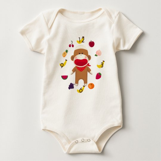 Sock Monkey Fruit Basket Infant Bodysuit