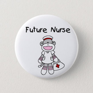 SOCK MONKEY FUTURE NURSE 2 INCH ROUND BUTTON