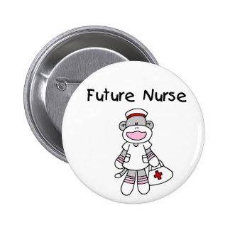 SOCK MONKEY FUTURE NURSE 2 INCH ROUND BUTTON