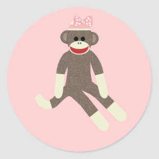 Sock Monkey girl with a pink bow sticker