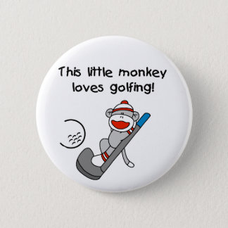 Sock Monkey Golf 2 Inch Round Button
