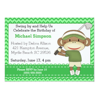 Sock Monkey Golf Birthday Invitations