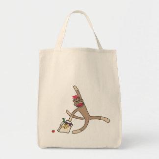 Sock monkey grocery tote bag