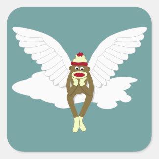 Sock Monkey Guardian Angel Square Sticker
