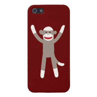 Sock Monkey Hands Up Red Tan iPhone 5 Case