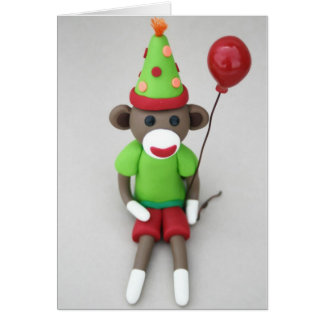 Sock Monkey Happy Birthday with Red Balloon Card