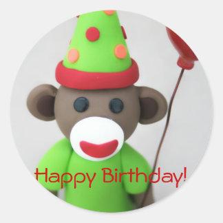 Sock Monkey Happy Birthday with Red Balloon Classic Round Sticker